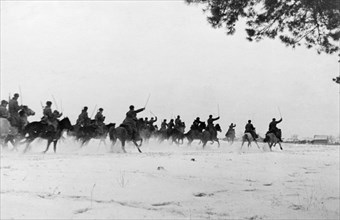 World war 2, first corps of mounted guards, commanded by lieutenant general belov, attacking, december 1941.