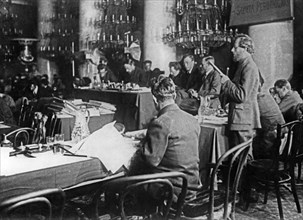 The reading of charges at a trial of social revolutionary leaders (purge trial), moscow, 1922.