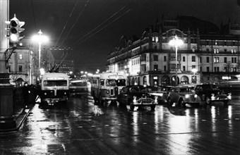 Sverdlov square at night, moscow, ussr, december 1956.