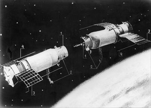 Soviet unmanned spacecraft kosmos 186 and kosmos 188 , the two craft approaching to link up (artist's representation), 1, link up units, 2, direction-finding aerials 3, solar batteries 4, radiocomplex...