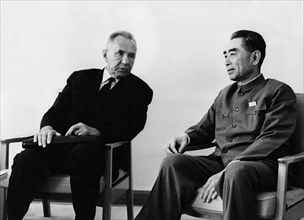 Chairman of the ussr council of ministers a,n, kosygin meeting with the premier of the people's republic of china state council zhou enlai in peking (beijing), china on september 11, 1969, the meeting...