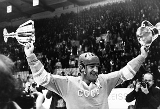 1973 world and european hockey championship in moscow, boris mikhailov, the captain of the soviet team, with the championship cups after beating sweden 6 to 4.