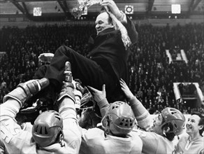 1973 world ice hockey championships, chief coach v, bobrov being hoisted up by the soviet hockey team after winning  the championship game against sweden 6 - 4.