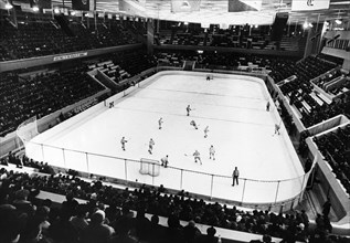 A juniors hockey match between the soviet army team of leningrad and the verdun maple leafs of canada in skolniki stadium, the soviet team won this match 9 to 4, march 1974.
