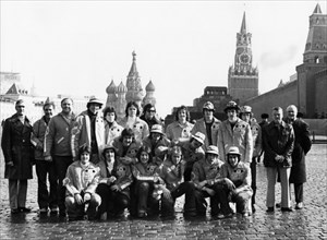 The canadian junior hockey team, don mills flyers, in red square, they arrived in moscow from toronto to take part in several matches with soviet junior teams, 1977.