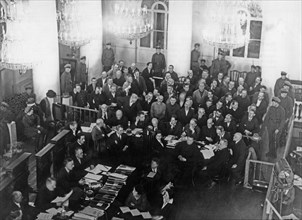 Shakhtinsky trial, the accused, mining engineers and technicians in shakhtinsky and other districts in the donets coal basin, and judges during the trial in the column hall of the house of soviets in ...