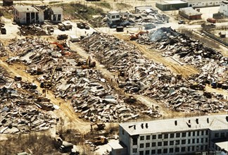 Rubble and destruction after a bad earthquake in the town of neftegorsk, north sakhalin, may 1995, the quake left 377 people dead and 372 injured.