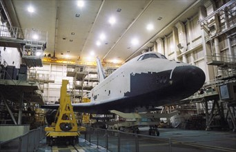 Soviet space shuttle buran in the test and assembly hangar at baikonur in kazakhstan, 1995, the program lost it's funding in 1992.