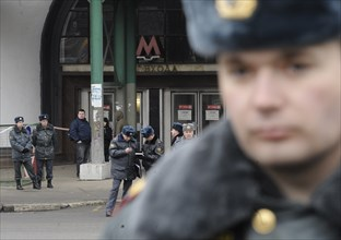 Moscow, russia, march 29, 2010, police officer in lubyanka square, outside lubyanka metro station, sokolnicheskaya line of the moscow underground, an explosion rocked the metro station at 7,52 during ...