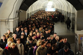 Moscow, russia, march 29, 2010, crowds of commuters walk past a sealed-off area in park kultury metro station, sokolnicheskaya line of the moscow underground, an explosion rocked the metro station at ...