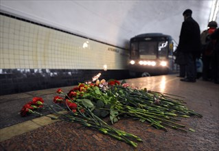 Moscow, russia, march 30, 2010, flowers are left in the memory of the victims of a bomb explosion at lubyanka metro station, blasts rocked two stations on sokolnicheskaya line of the moscow undergroun...
