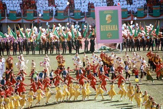 A theatrical performance at the olympic stadium in ashgabat celebrating the national flag day established in 1995 and the birthday of saparmurat niyazov 'turkmenbashi' president of turkmenistan who tu...