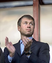 Chukotka's governor roman abramovich watches qualifying match of the 2006 soccer world championship, russia vs portugal from a grandstand, the game ended in a draw, 0-0, moscow, russia, september 8, 2...