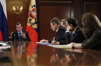 Moscow region, russia, december 13, 2011, president of russia dmitry medvedev, deputy prime minister in charge of preparation for sochi winter olympic games 2014 dmitry kozak, presidential aide arkady...