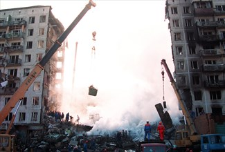 Moscow, russia, september 9, 1999: explosion at a residential building in guryanova street