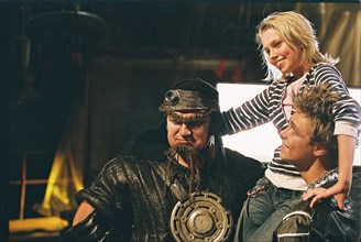 Dmitry turchinsky as evil prince, daria melnikova as cinderella and alexander golovin as good prince, l-r, on the set of yuri morozov's film 'cinderella 4?4', may 24, 2007.