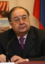 Moscow, russia, february27, 2008, russian billionaire alisher usmanov who who controlls metalloinvest industrial holding company, attends a press conference to announce metalloinvest's new sponsorship...