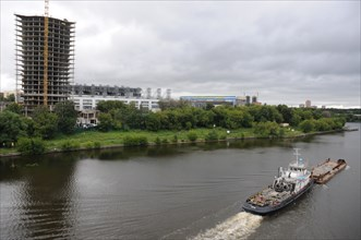 A view of the arena-khimki football stadium across the moscow river, moscow region, august 2008.