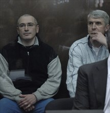 Moscow, russia, march 3, 2009, former yukos head mikhail khodorkovsky (l), and former head of menatep group, platon lebedev, appear at moscow's khamovniki district court on new charges of embezzlement...