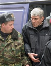 Moscow, russia, march 5, 2009, former head of menatep group, platon lebedev (r), escorted to moscow's khamovniki district court for a preliminary hearing on the new charges of embezzlement and money l...