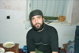 Moscow, russia, july 26, 2002, achimez gochiyayev, the prime suspect in the organization of explosions of residential houses in moscow and volgodonsk, pictured at the chechen gunmen's camp in chechnya...