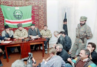 Chechen republic, dudayev's field commanders /left to right/ akhmed zakayev, commander of south-west front of chechen resistant forces uslan gelayev, chief of head quaters of south-west front isa asta...
