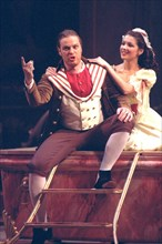 Yevgeny nikitin as figaro and anna netrebko as susanna perform in the premier performance of mozart's italian-language opera 'the marriage of figaro' (le nozze di figaro) staged by yuri alexandrov and...