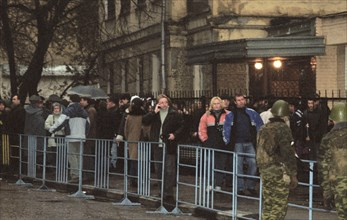 Moscow, russia,10/26/02: chechen hostage crisis: released hostages  waiting for a bus to take them home.