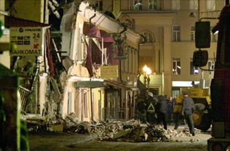 Caption: tas03: moscow, russia, may 13, 2003, a view of the accident site in central arbat street, where 14 people were injured as a result of a gas explosion on monday evening,the two-storey building...