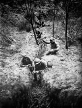 World War One 1918 Phone line in battle