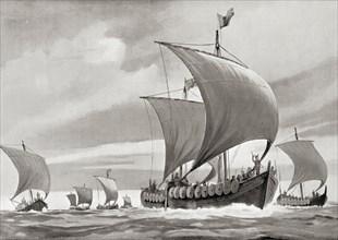 A fleet of Viking ships on a raid