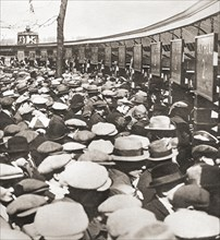 Crowds of people trying to get into Wembley Stadium for the first ever FA Cup Final in 1923 between Bolton Wanderers and West Ham United.  A crowd of around 300
