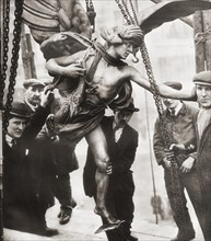 The removal of the statue of Eros from Piccadilly Circus to Embankment Gardens