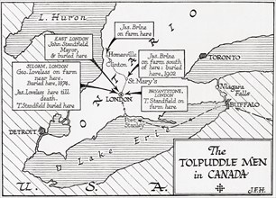 Map showing the placings in Canada of The Tolpuddle Martyrs