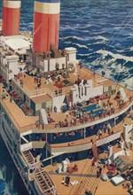 A bird's-eye view of the deck of an ocean going liner