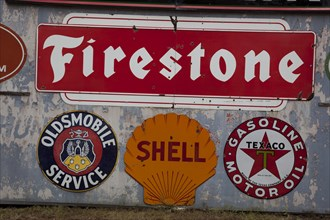 Firestone, Shell, Texaco and Oldsmobile Service Signs