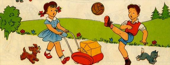 Boy kicks soccer ball as girl wheels baby carriage