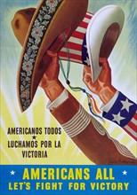 Americans all, let's fight for victory: Americanos todos, luchamos por la victoria