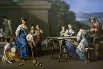 Women embroidering with Children