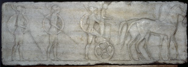 Base of funerary Kouros. Four-horse chariot and hoplites.