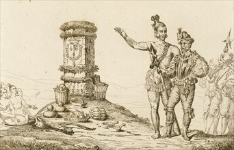 Rene Goulaine de Laudonniere and the Indian Chief Athore visit the Jean Ribault's column.