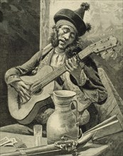 Spain.18th century. Flamenco. Toque. Guitar playing. Andalusia. Engraving.