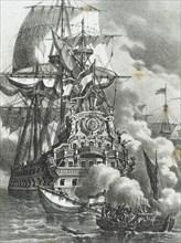 The Brethren or Brethren of the Coast attacking three Spanish galleons.