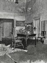 Bourgeois house. Sitting room. 19th century. Engraving.