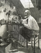 Craftsman in his workshop. Engraving. 19th century.