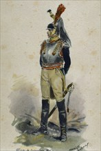 Napoleonic Wars. Cuirassier. French Army. Heavy cavalry. Engraving. 1806.