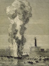 "Explosion of the ""Express"" steamship in the port of Barcelona on August 17, 1875."