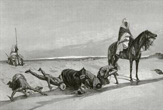 Slave caravan in the desert. Drinking water.