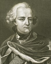 Frederick II the Great (1712-1786).  King of Prusian and Elector of Brandenburg. Portrait. Engraving.