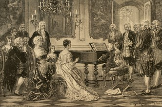 Maria Anna (Nannerl) and Wolfgang Amadeus playing before the Empress Maria Theresa (1717-1780) . Vienna, 1762. Engraving .